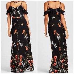 Xhilaration • Cold Shoulder Floral Maxi Dress